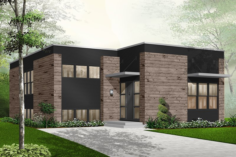 Modern Style House Plan - 2 Beds 1 Baths 1372 Sq/Ft Plan #23-2225 Exterior - Front Elevation