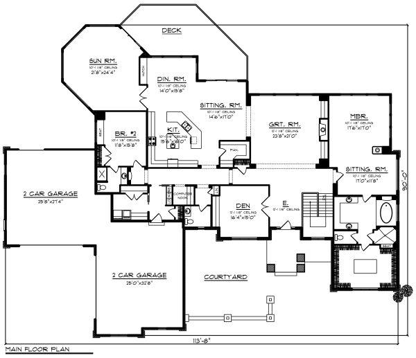 Ranch Floor Plan - Main Floor Plan Plan #70-1293