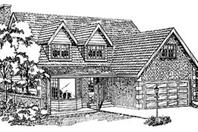 Traditional Style House Plan - 4 Beds 2.5 Baths 1953 Sq/Ft Plan #47-119 Exterior - Front Elevation