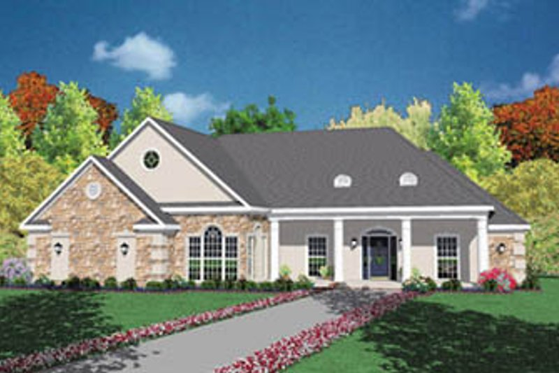 Southern Exterior - Front Elevation Plan #36-178
