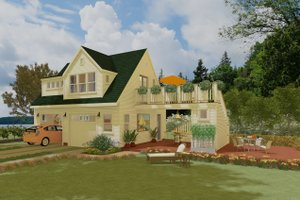 Cottage Exterior - Front Elevation Plan #917-10