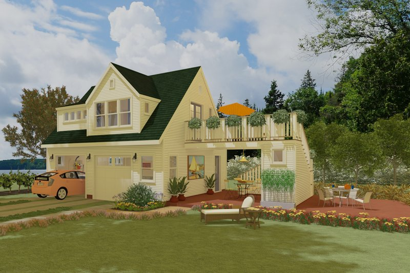 Cottage Style House Plan - 1 Beds 1 Baths 600 Sq/Ft Plan #917-10 Exterior - Front Elevation