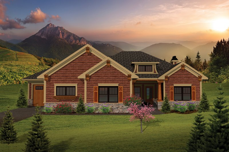 Craftsman Exterior - Front Elevation Plan #70-1072