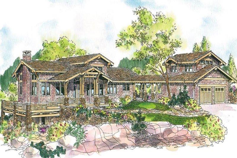 Architectural House Design - Prairie Exterior - Front Elevation Plan #124-553