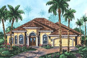 Mediterranean Exterior - Front Elevation Plan #27-352