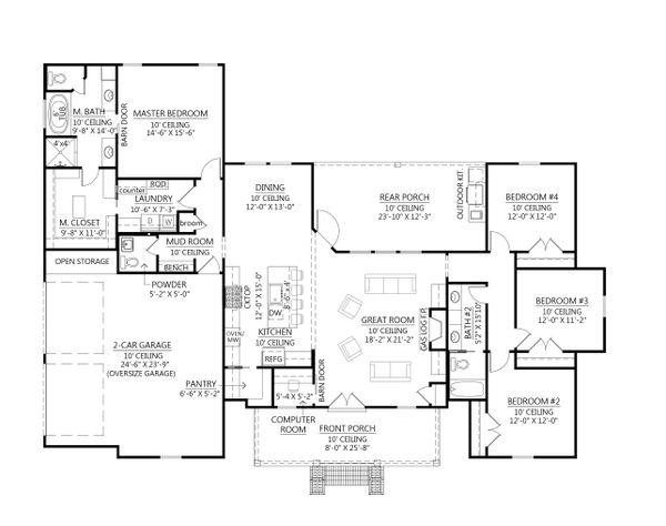 House Plan Design - Farmhouse Floor Plan - Main Floor Plan #1074-36