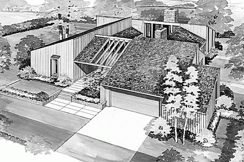 Contemporary Exterior - Front Elevation Plan #72-346 - Houseplans.com