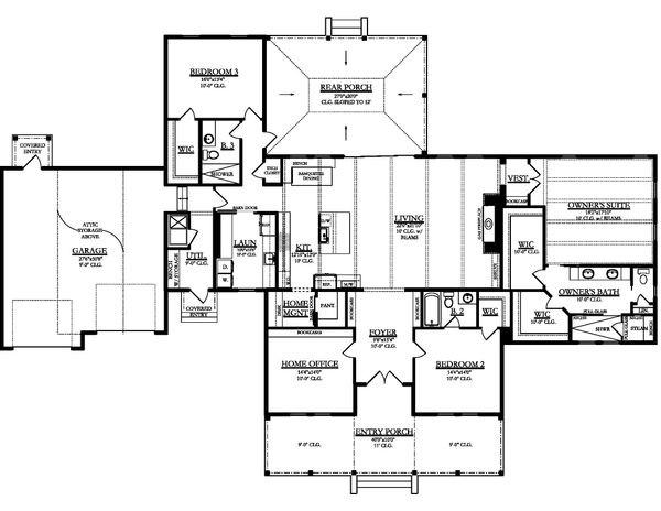 Ranch Floor Plan - Main Floor Plan Plan #1058-173