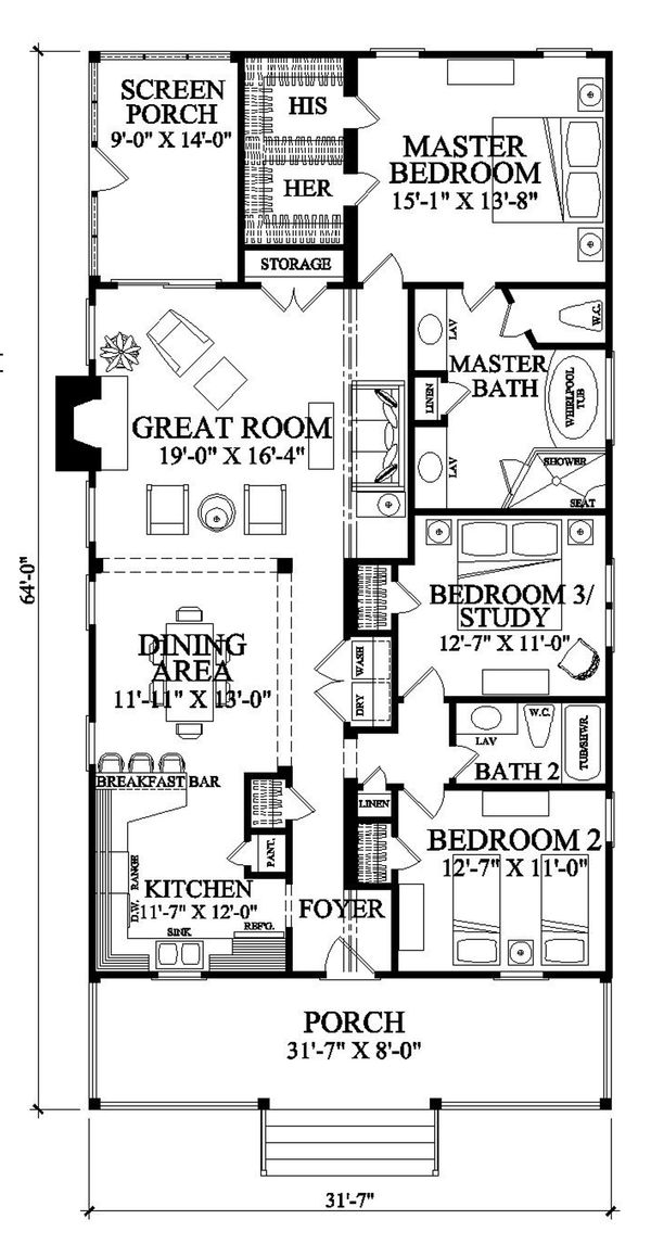 Southern Floor Plan - Main Floor Plan Plan #137-271