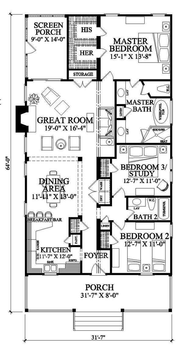 House Plan Design - Southern Floor Plan - Main Floor Plan #137-271