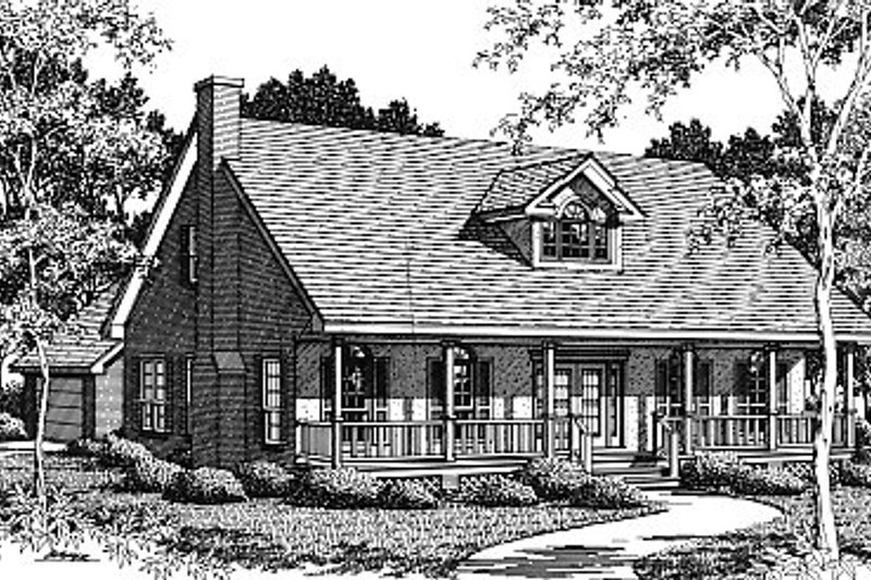 Architectural House Design - Country Exterior - Front Elevation Plan #14-223