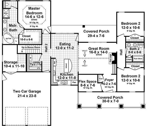 Craftsman Floor Plan - Main Floor Plan #21-381