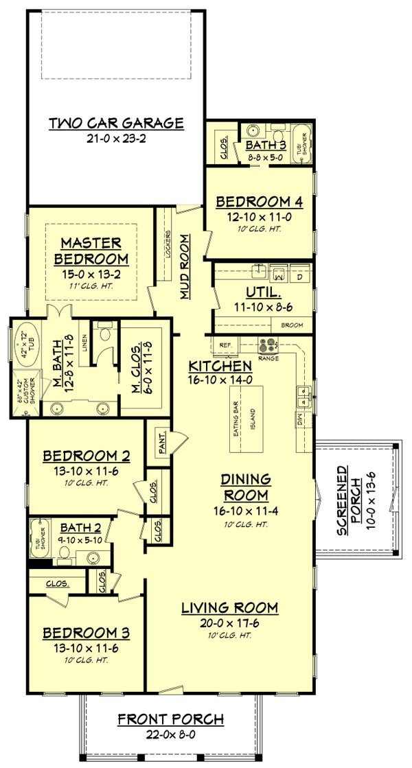 Craftsman Floor Plan - Main Floor Plan Plan #430-174