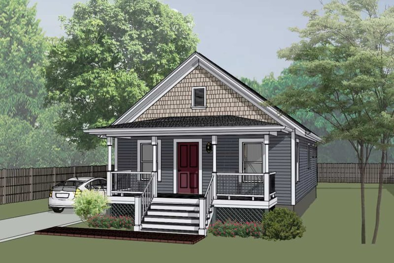 Cottage Style House Plan - 2 Beds 1 Baths 912 Sq/Ft Plan #79-111 Exterior - Front Elevation