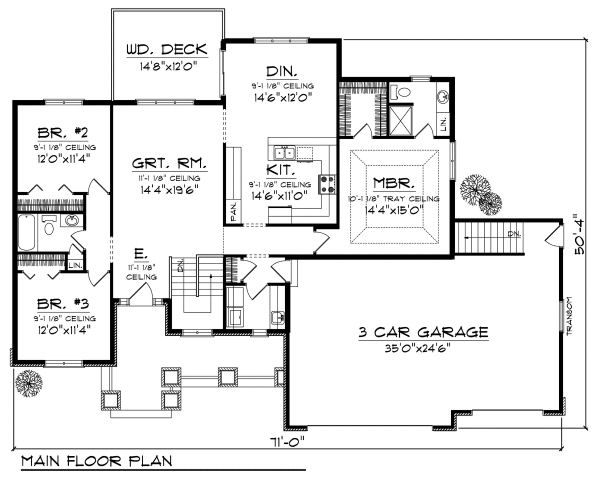 Traditional Floor Plan - Main Floor Plan Plan #70-862