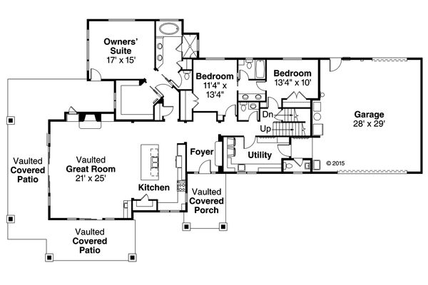 Craftsman Floor Plan - Main Floor Plan #124-988