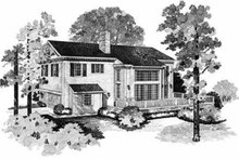 Southern Exterior - Rear Elevation Plan #72-148
