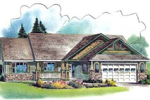 Ranch Exterior - Front Elevation Plan #18-4529