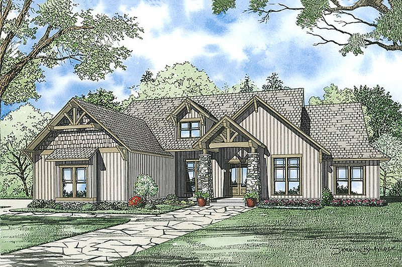 Craftsman Style House Plan - 6 Beds 4.5 Baths 6089 Sq/Ft Plan #17-2375 Exterior - Front Elevation