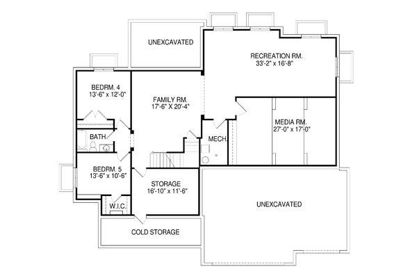 Craftsman Floor Plan - Lower Floor Plan Plan #920-50