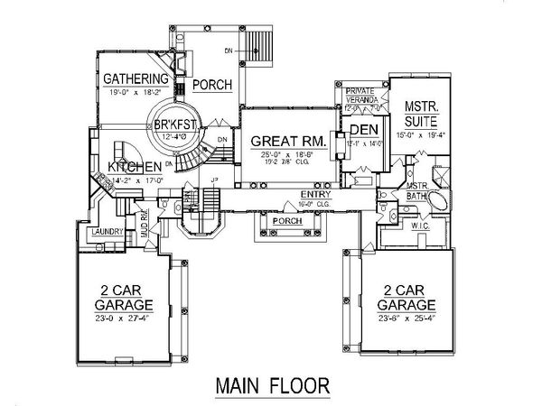 Traditional Style House Plan - 5 Beds 5 Baths 6439 Sq/Ft Plan #458-1 Floor Plan - Main Floor Plan