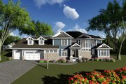 Craftsman Style House Plan - 4 Beds 3.5 Baths 3392 Sq/Ft Plan #70-1287 Exterior - Front Elevation