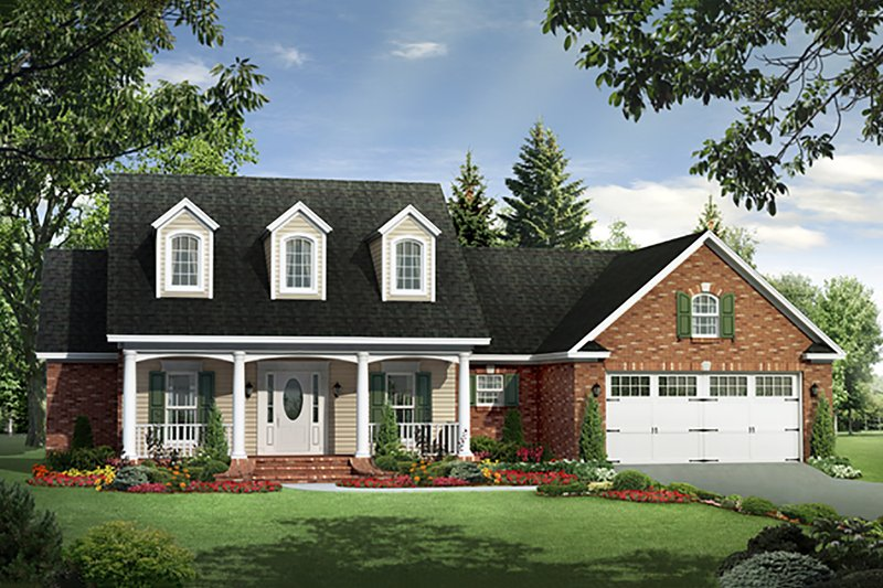 Country, Traditional, Farmhouse, Front Elevation
