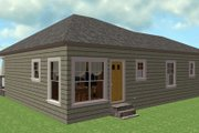 Country Style House Plan - 3 Beds 2 Baths 1327 Sq/Ft Plan #44-177 Exterior - Rear Elevation