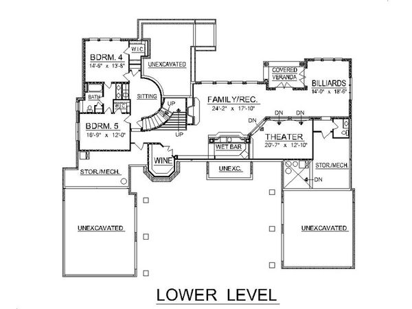 Traditional Style House Plan - 5 Beds 5 Baths 6439 Sq/Ft Plan #458-1 Floor Plan - Lower Floor Plan