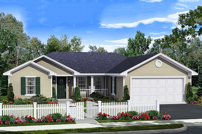 Ranch Style House Plan - 3 Beds 2 Baths 1310 Sq/Ft Plan #21-342 Exterior - Front Elevation