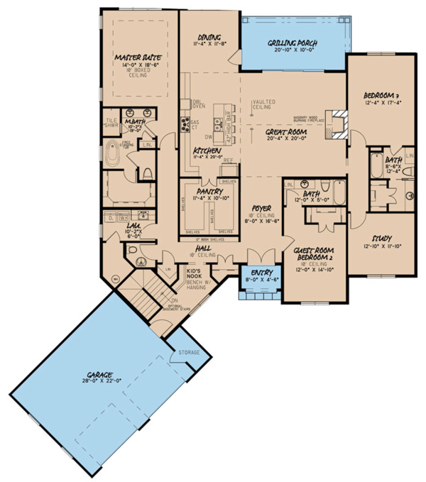 Farmhouse Floor Plan - Main Floor Plan Plan #923-120