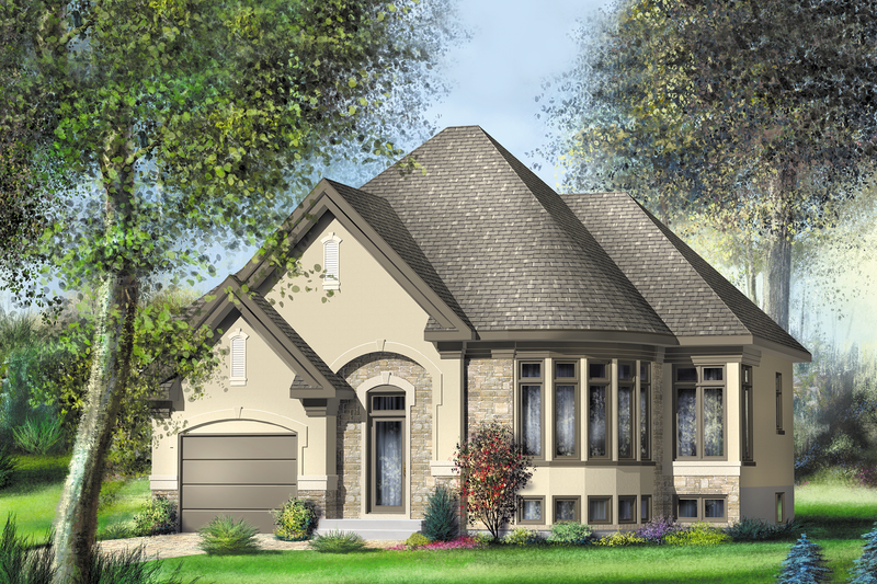 European Style House Plan - 2 Beds 1 Baths 1225 Sq/Ft Plan #25-4535 Exterior - Front Elevation