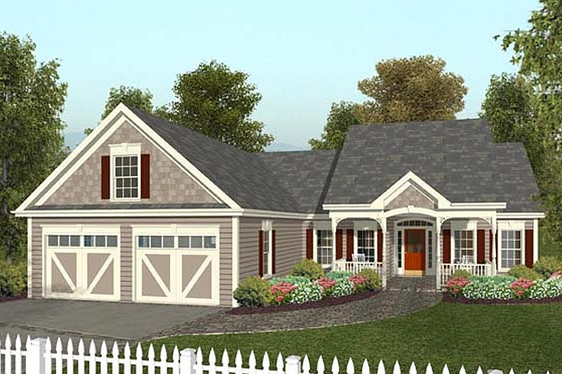 Country Exterior - Front Elevation Plan #56-548