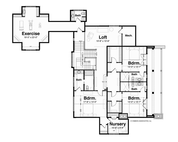 European Floor Plan - Upper Floor Plan #928-3
