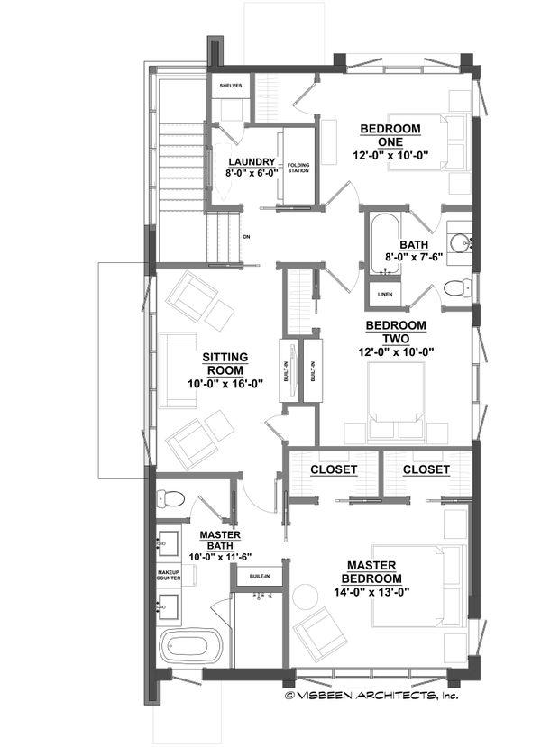 Contemporary Floor Plan - Upper Floor Plan #928-296