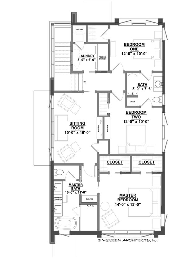 Contemporary Floor Plan - Upper Floor Plan Plan #928-296