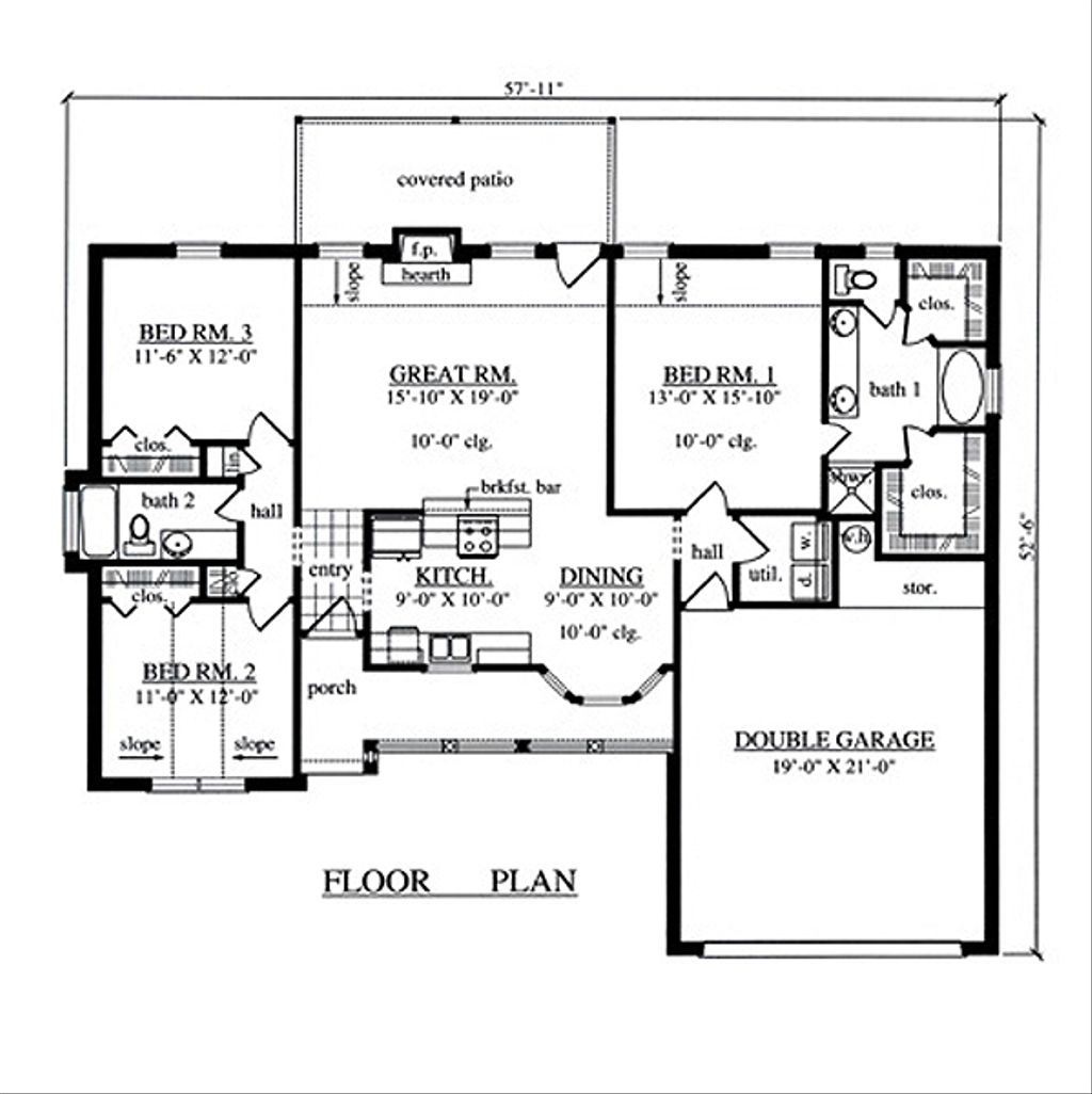 Country style house plan 3 beds 2 baths 1504 sq ft plan for Www eplans