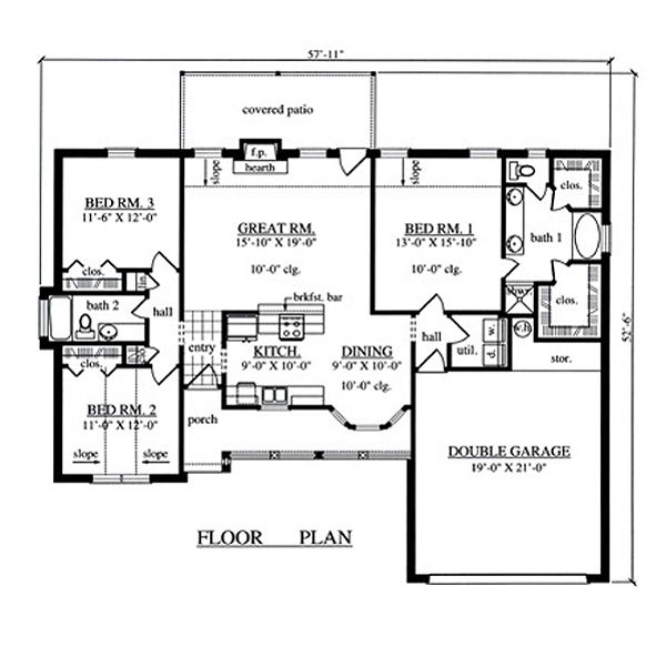 Country Floor Plan - Main Floor Plan Plan #42-385