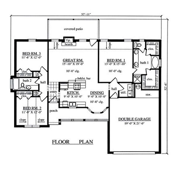 Country Floor Plan - Main Floor Plan Plan #42-385