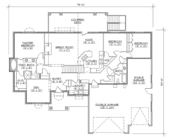 Ranch Floor Plan - Main Floor Plan Plan #5-127