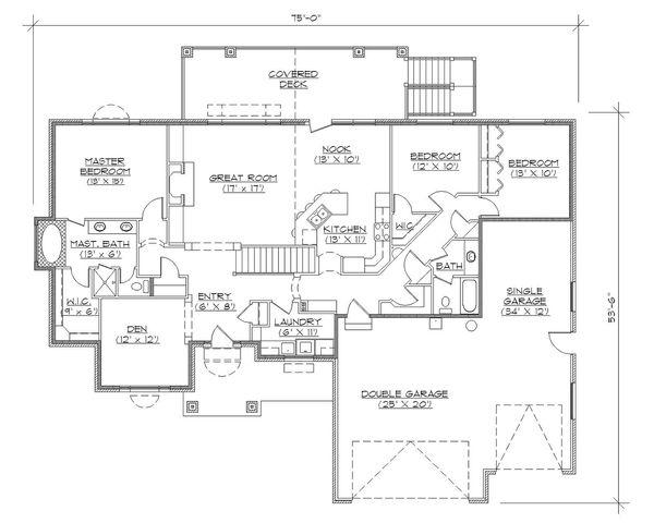 Dream House Plan - Ranch Floor Plan - Main Floor Plan #5-127