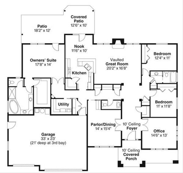 Craftsman Floor Plan - Main Floor Plan Plan #124-773