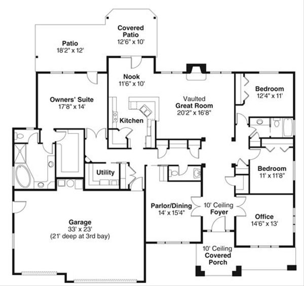 Craftsman Floor Plan - Main Floor Plan #124-773