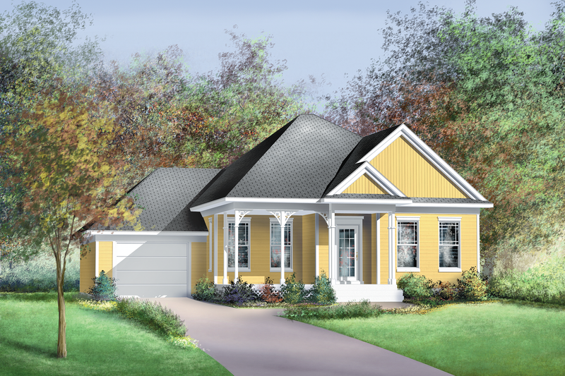 Country Style House Plan - 3 Beds 2 Baths 1438 Sq/Ft Plan #25-111 Exterior - Front Elevation