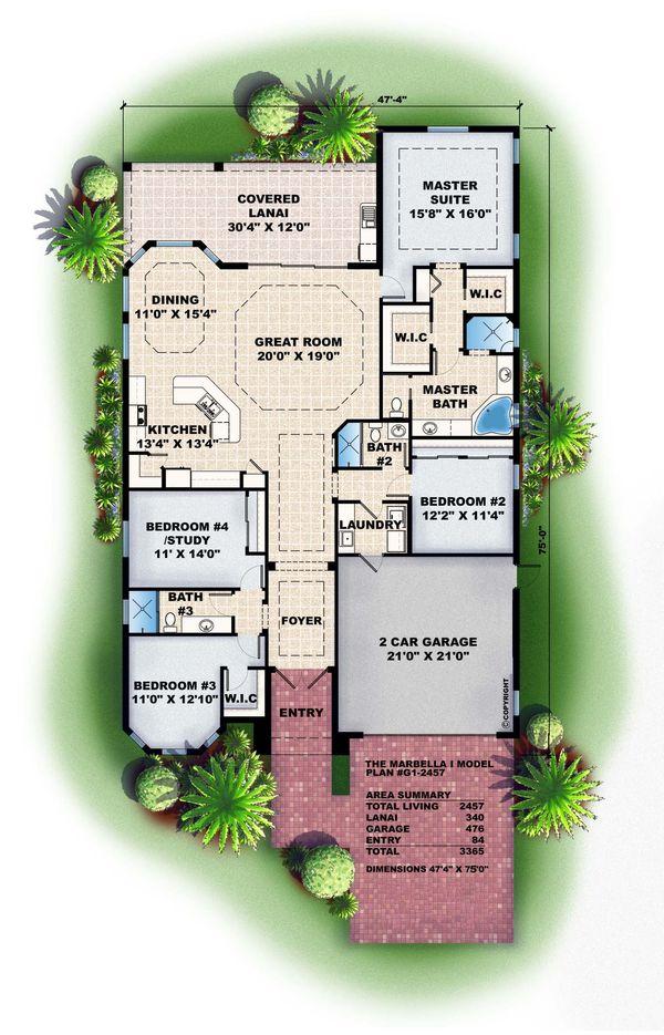 Mediterranean Floor Plan - Main Floor Plan Plan #27-348