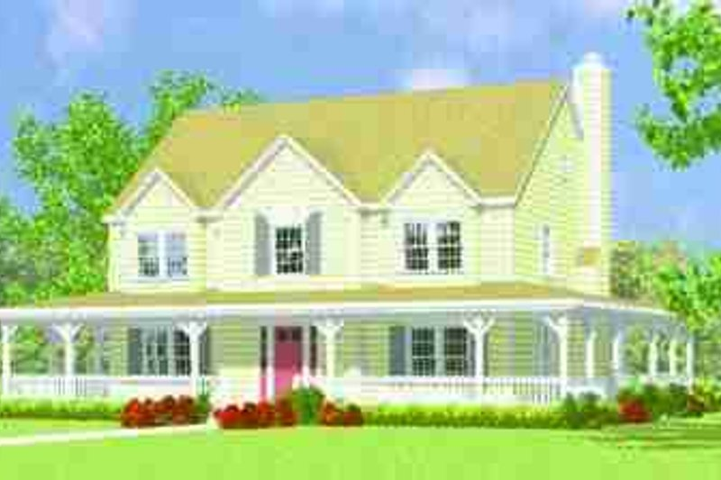 House Blueprint - Country Exterior - Front Elevation Plan #72-341