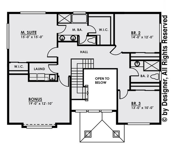 Contemporary Floor Plan - Upper Floor Plan Plan #1066-4