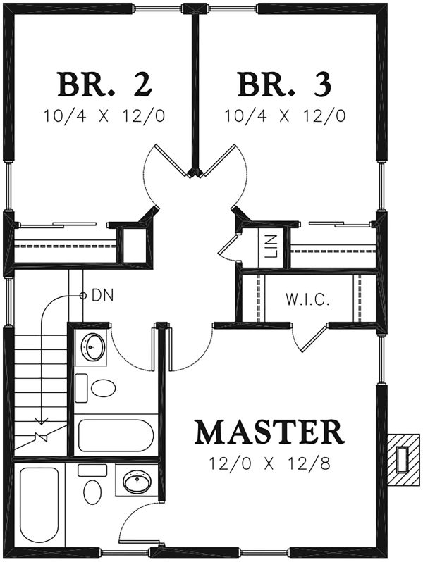 Traditional Floor Plan - Upper Floor Plan Plan #48-978