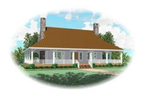 Southern Exterior - Front Elevation Plan #81-857