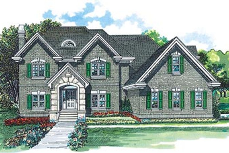 European Style House Plan - 4 Beds 2.5 Baths 2685 Sq/Ft Plan #47-389 Exterior - Front Elevation